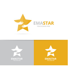 star and hands logo combination leader and vector image
