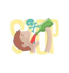 Stop alcohol bad habit alcoholism concept vector
