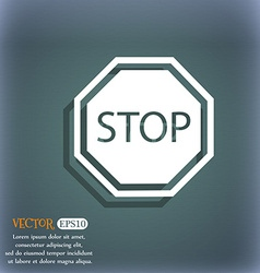 Stop icon On the blue-green abstract background vector image