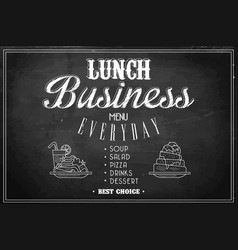 stylish template of business lunch menu on black vector image