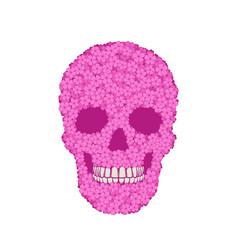 Stylized pink verbena skull on white background vector