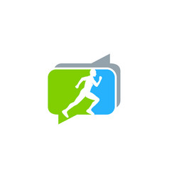talk run logo icon design vector image