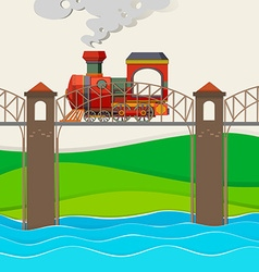 Train riding over the bridge vector