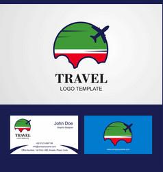 Travel chechen republic flag logo and visiting vector