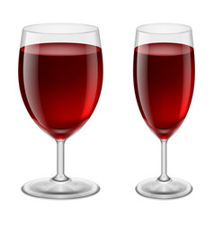 two glasses of red wine for creative design vector image