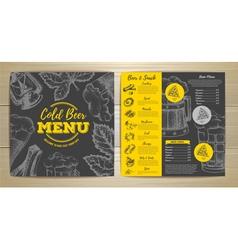 Vintage cold beer menu design vector