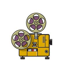 Vintage movie film projector retro full color vector