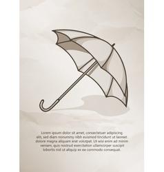 Vintage postcard Retro umbrella on grunge vector image