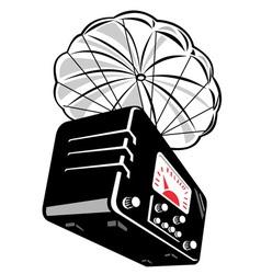 vintage radio parachute vector image