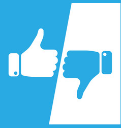 Vote thumbs up icon in blue and white inverse vector