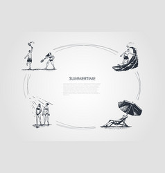 walk in the park - people playing badminton vector image