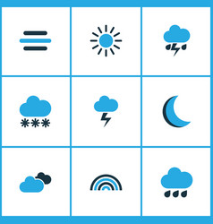 Weather colored icons set collection of arc vector