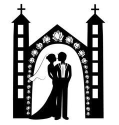 Wedding silhouette 8 vector