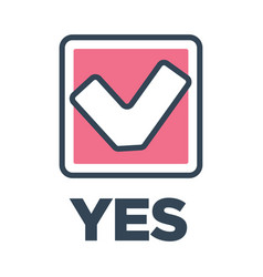 yes mark in box vote decision icon closeup vector image