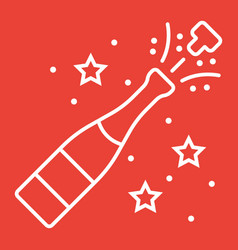 champagne bottle pop line icon new year vector image