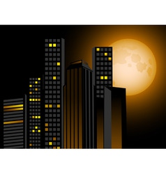 full moon and city scape with sky scrapers offices vector image