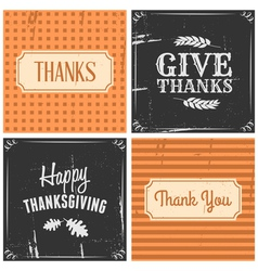 retro style thanksgiving greeting cards set vector image vector image