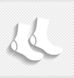 socks sign white icon with soft shadow on vector image vector image