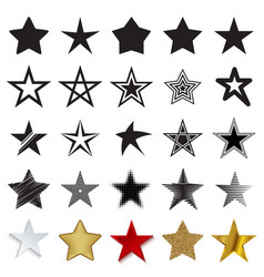 star icons isolated on a white background vector image