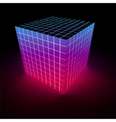 Abstract glowing pink cube vector image vector image