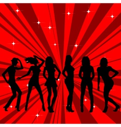 Beautiful and sexy girl silhouettes dancing vector image