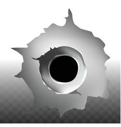 bullet shot hole on transparent background vector image