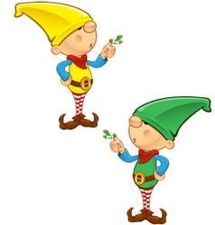 Elf Mascot Holding Mistletoe vector image vector image