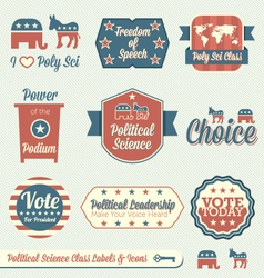 Political Science Class Labels and Icons vector image vector image