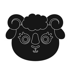 ram muzzle icon in black style isolated on white vector image