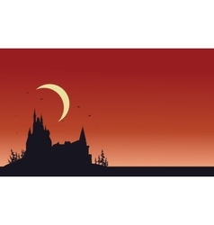 Red backgrounds Halloween castle silhouette vector image vector image
