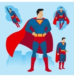 Superhero poses set vector image