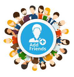 Add friends to social network vector image