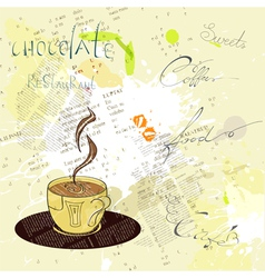 background with a cup of coffee vector image vector image