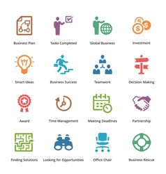 Business Icons Set 3 - Colored Series vector image vector image