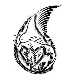 Decorative silhouette of a floral paisley colibri vector