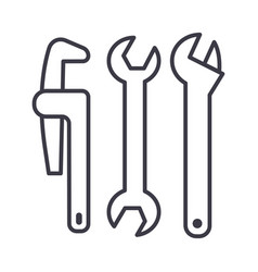 plumbing tools line icon sign vector image