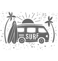 vintage of mini van with lettering vector image