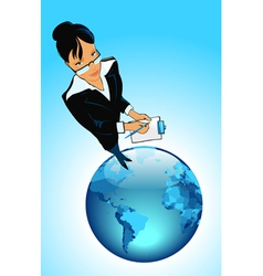 Business woman on globe vector image vector image