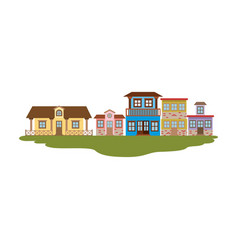 colorful silhouette of country houses in grass vector image vector image