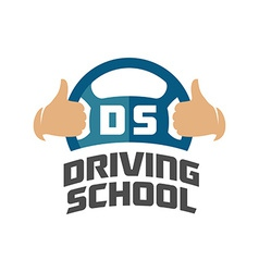 Driving school logo template Steering whell with vector image vector image