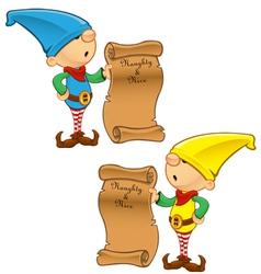 Elf mascot naughty and nice list vector
