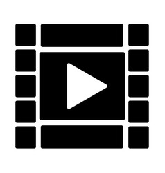 film strip with play button icon video symbol vector image