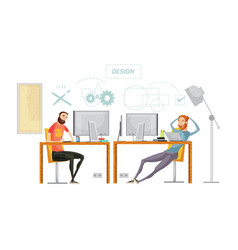 game design office composition vector image