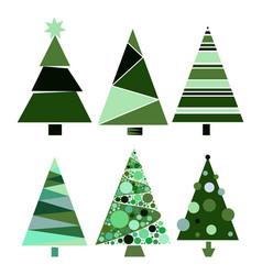set decoration christmas trees winter design vector image vector image