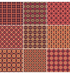Set of 9 seamless geometric patterns vector image