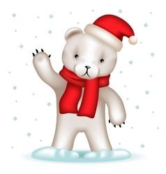 Toy Bear Cub Santa Claus Hat Greeting Waving Hand vector image vector image