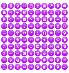 100 knowledge icons set purple vector