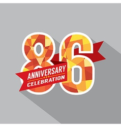 86th Years Anniversary Celebration Design vector image