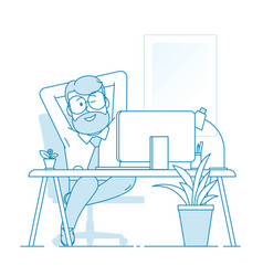A contented man sits comfortably stretched out in vector