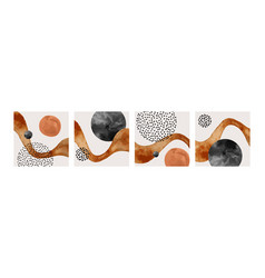 abstract geometric natural shapes poster set vector image